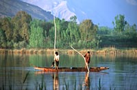 Men on the lake, Kashmir